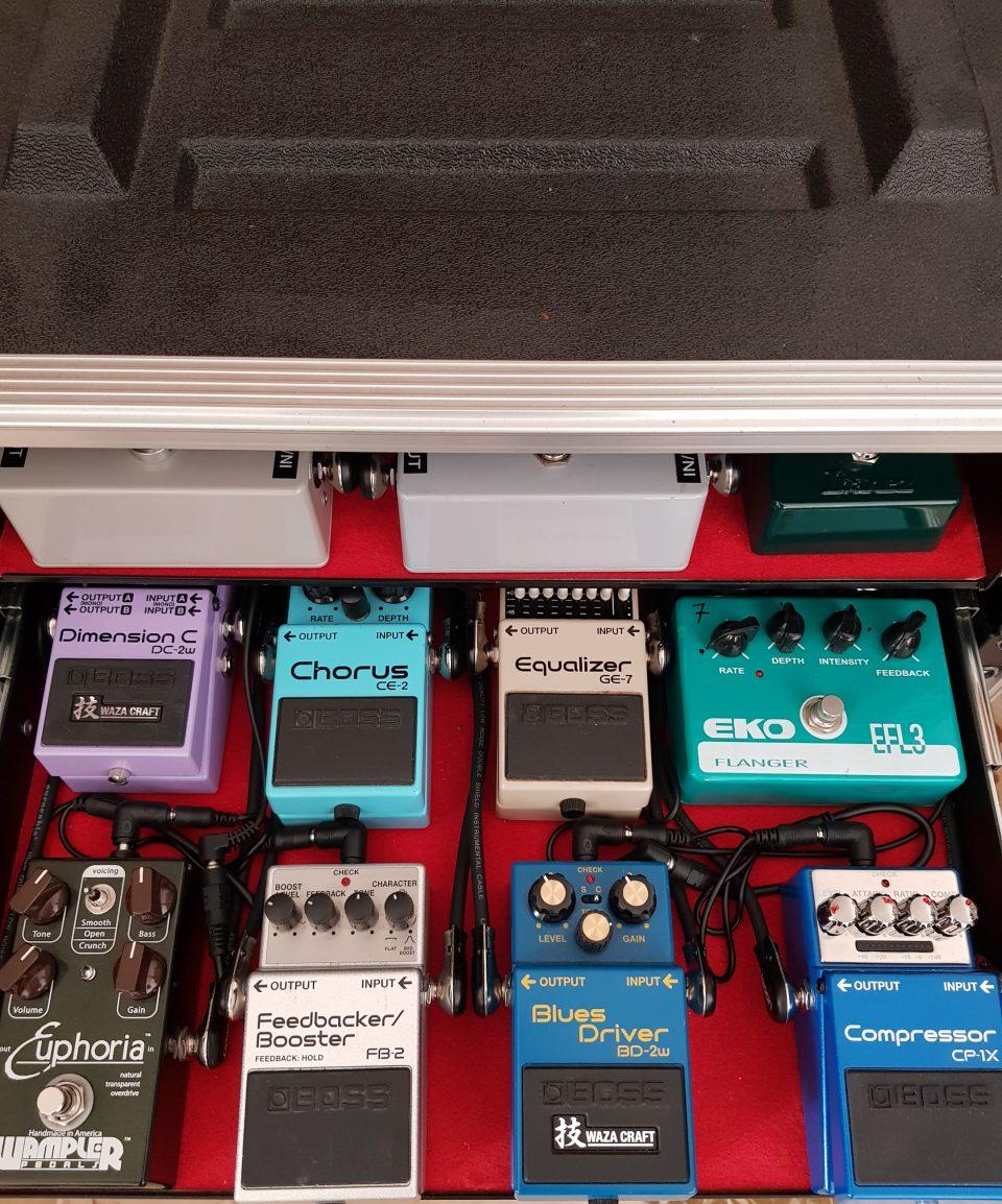 Rack di effetti per chitarra con pedale Boss Blues Driver Waza Craft, Wampler Euphoria